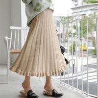 Gonne in vita alta womens solido strisce annata maglione casual gonna a maglia per donna elastico lungo ombrello Faldas Mujer1