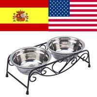 كلب مزدوج السلطانية جرو الغذاء المغذية المياه المقاوم للصدأ الغذاء المياه وعاء الشرب صحن الحيوانات الأليفة اللوازم Y200917