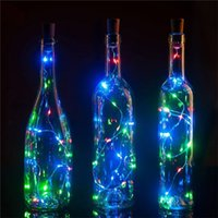 10 pz / lotto 75 cm 1m 2m LED Filo di rame Lampada a filo con tappo per bottiglia per bottiglia di vetro artigianale Valentines decorazione di nozze luce 201128