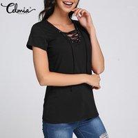 Frauen Blusen Hemden Celmia Sexy V-ausschnitt Lace Up Blusen Damen 2021 Kurzarm Frauen Sommerkreuze Front Tops Casual Solid Blusas Plus