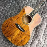 Nuova chitarra acustica di alta qualità di arrivo, intarsi con guscio reale sul corpo e tastiera, chitarra lussuosa. buone chitarre
