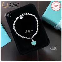 هدية الأزرق مربع لا صناديق سوداء - AMC 925 فضة الحب القلب سوار السيدات مجوهرات عطلة هدية الأزرق نحت الشعار الأصلي بالجملة