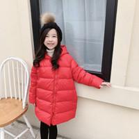 الشتاء الاطفال سترة طفل الفتيات سستة مقنعين منتصف طول معطف الملابس الأزياء قميص الأطفال أسفل الملابس القطن