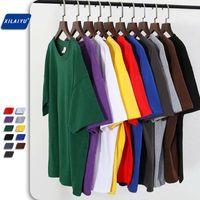 Pure colori allentati uomini / donne T Shirt Solid Fashion Tee Oversized Summer Male Hip Hop Plus Size Top