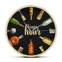 Happy Hour Wine Time Wine O'Clock Booze Relógio de Parede Homem Caverna Pub Bar Parede Decoração Restaurante Vinho Álcool Presentes Vinícolas Arte Y200109