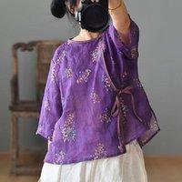 المرأة تي شيرت جون ناتج الأصلي رامي الصيف القمصان للنساء س الرقبة سبعة كم 2021 طباعة زر الأزهار الإناث خمر