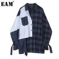 [EAM] Женщины Blue Striped плед сплит большой размер блузки Новый отворот с длинным рукавом Свободная подходящая рубашка мода прилив весна осень LJ200815
