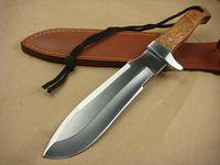 Alta Qualidade New Survival Straight Hunting Faca 5Cr15Mov Cetim Lâmina Completa Tang Wood Lidar com facas de faca de lâmina fixa com bainha de couro