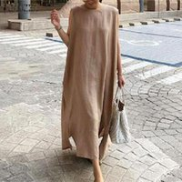 Casual Kleider 2021 Sommer Elegante Solid Sommerkleid Frauen Baumwolle Leinen Kleid Zanzea Ärmellose Party Lange Vestidos Weibliche Sarafans Robe S 5XL