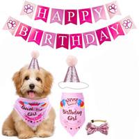 Ropa para perros Pastel de cumpleaños Pastel de cumpleaños Bandera de triángulo bufanda Cake Hat Decoration Props Supplies Supplies Vestido de vacaciones Conjunto con envío gratis