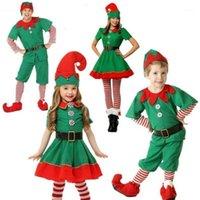موضوع زي cibo عيد الميلاد elf تأثيري الاطفال الوالدين والطفل مهرجان الكبار الرجال والنساء الأخضر دعوى اللباس 1