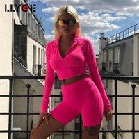 Lyge Frauen Langarmbuchstaben Druck Tops Sexy Bodyocn Mode Shorts Crop Tops 2 Stück Set 2020 Herbst Winter Damen Sets1
