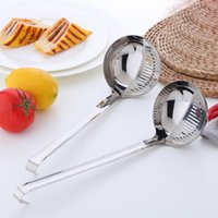 Spoons 2 em 1 sopa de aço inoxidável colher Muntifuncional pote Long Handle Colander Ladle com disher Prato Scoop Kitchen Utensils1