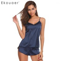 Ekouaer Femmes Summer Sleep Heightwear Sexy Pyjamas Ensemble Solide Sangle réglable Cami Top Shorts Satin Pajama Lâne Femme Nightwear Cuissons1