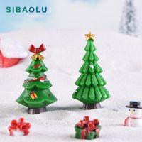 Yeni Noel Yeşil Ağaç Bina Modeli Karikatür Heykelcik Dollhouse Kek Ev Dekor Minyatür Peri Bahçe Dekorasyon Aksesuarları1