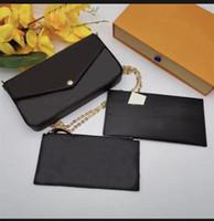 61276 mit Box Pochette Felicie Frauen Crossbody Geldbörse Messenger Bags Wasser Muster Handtaschen Designer Umhängetasche 3 Stück / Set