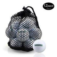 Crestgolf Golf Balls Pratique Golf Balls Professionnel Extérieur Deux couche Distance avec sac de rangement Couleur blanche-12pcs / sac