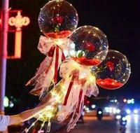 LED Aydınlık Balon Gül Buketi Şeffaf Bobo Topu Gül Sevgililer Günü Hediyesi Doğum Günü Partisi Düğün Dekorasyon Balonlar PPA3059