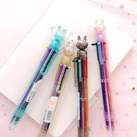 1 ADET 6 Renk Tavşan Tükenmez Kalemler Karikatürler Hayvanlar Şeffaf Kolu Renkli Topu Kalem Renkli Mürekkep Kawaii Okul Malzemeleri