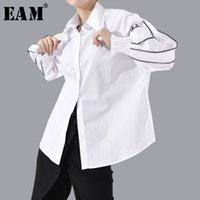 [EAM] Frauen Split Joint Große Größe Bluse Neue Revers Lange Laterne Hülse Lose Fit Hemd Mode Flut Frühling Herbst 1T802 Y200828