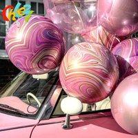 10pcs 22inch Marbre Texture Texture Feuille Ballons 4D Round Helium Ballon de mariage Décorations de fête d'anniversaire pour enfants Balons pour adultes bébé jouet bébé T200624