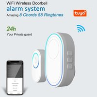 Tuya Alarme Host WIFI WIFI WIFI Doorbell Função Doorbell Kit 2 PCS Ao Ar Livre + 1 Pcs Indoor Chime com LED 58 Ringtones1