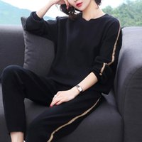 Feminino Primavera Outono Loose Pure Color Tracksuit Simples Casual Sportswear Idade Reduzindo duas partes Set Plus Size M-5XL T200602
