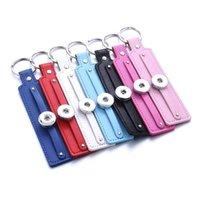 Vintage PU en cuir Snap Keychain Keychain Keychains Tye-clés Fit Diy 18mm Boutons Snap Bijoux Bijoux Pendentif Q bbyeok