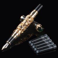 Fontana Pens Jinhao Drago Golden Dragon King Fine Perle Set 18KGP Penna Penna Nera Black / Bianco Grigio per Business Office Choice Regalo