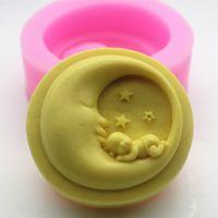 Cute Sleeping Baby Silikonowe Mold Księżyc Kształt Mydło Formy do mydła Dokonywanie Handmade Silikonowe Formy DIY Ciasto Dekorowanie Narzędzie