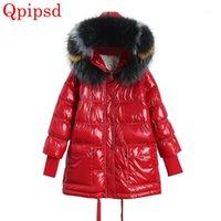 Inverno novo brilhante face para baixo jaqueta feminina feminina grande colar de pele com capuz branco para baixo parkas casaco womens engrossar casaco quente1