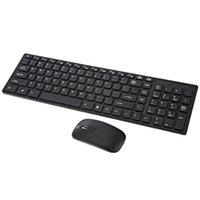 Keyboard Souris Combos 2.4g Meude sans fil Optique Receiver USB Kit combo pour ordinateur portable Portable Ultra Mince Bureau Support Noir