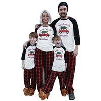 Parent-enfant Pyjama famille de Noël Noël design assorti à manches longues Hauts Pantalons Plaid Deux adultes Vêtements Piece enfants Outfit New E110203