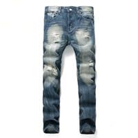 Повседневная мода заплатки Полые Попрошайничество Укороченные джинсы Брюки Джинсы рваные Hip Hop Мужчины Sexy Ripped Старый Марка Dropship Большой размер