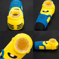 Minion Silicone Bong Water Pipe Tabac Colourful Pipes Smoking main avec bol en verre Portable Hookah