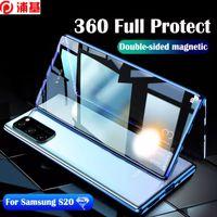Funda magnética de adsorción para Samsung S20 S10 S9 S8 Note 10 9 8 8 A50 A50 A70 Plus Double Led Lateral Tapa de metal de vidrio templado