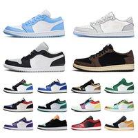 Nike air jordan retro 1 jordans 1s off white 2021 جديد وصول كرة السلة أحذية منخفضة jumpman 1 1 ثانية المرأة الأرجواني UNC MOCHA لعبة Royal Royal Sports Sneakers Trainers Size 36-46