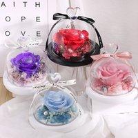 발렌타인 데이 선물 유리 커버 보존 된 꽃 장미 꽃 선물 상자 장식 인공 꽃 12 * 12cm XD24414
