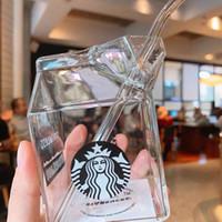 300 ملليلتر إلى 400ML Starbucks أكواب الحليب مربع تصميم الإبداعية الزجاج الشرب القش كأس المشروبات الباردة