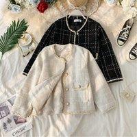 Vestes Femmes 2021 Fashion Court manteau Cardigan Version coréenne de tout-Match Tweed Plaid Costuple Veste lâche1