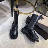 حار بيع الأزياء كوليتي التمهيد منتصف الساق الأحذية في STORM CUIR المرأة منصة أحذية 2019 العلامة التجارية الجديدة سيدة الحذاء تصميم فاخر أحذية النساء