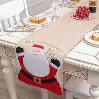 Рождественский стол бегун скатерть лен-настольная крышка Santa Claus снеговик таблицы флаг скатерть поместить коврик рождественские украшения DBC BH4352
