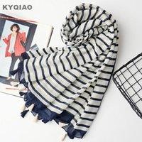 bufanda de rayas para el invierno las mujeres del otoño del resorte fresco estilo japonés bufandas de rayas larga del mantón del cabo oficina damas silenciador