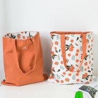 قماش مزدوج الاستخدام المزدوج اليد والكتان الجيب حقيبة يد التسوق تخزين البقالة القطن حمل حقيبة