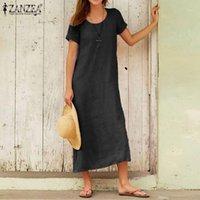 2020 الصيف الصلبة فستان الشمس موضة منتصف العجل اللباس zanzea المرأة قصيرة الأكمام القطن الكتان vestidos عارضة أنثى رداء زائد size1