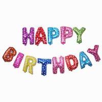 Feliz cumpleaños con forma aproximadamente de regalos de bolas Decoración de cumpleaños del globo del aire partido de la hoja inflable globos niños de 18 diseños DHT108