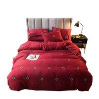 Pamuk nevresim seti 4 parça kraliçe calfornial kral yatak setleri düz düz levha yastık kılıfları setleri nakış otel yatak çarşafları rr03
