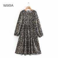 Casual Dresses Wixra Womens O Neck Long Sleeve Floral Print Ladies Loose Straight Clothing Spring Summer