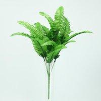 Decoratieve bloemen kransen 1pc groene kunstmatige plant Perzische gras plastic bladeren in pot huis decoratie nep krans