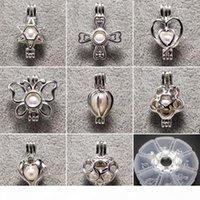 100% 925 sterling Silver Pearl Locket Gabbia Pendente perla Pendente Braccialetti fai da te Collana 15 * 25mm 24 Stili Gioielli di moda regalo di nozze
